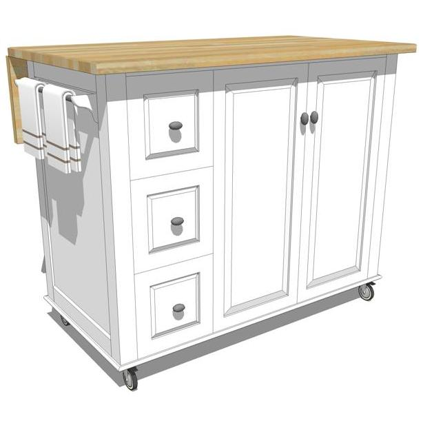 Mobile kitchen island 3d model formfonts 3d models for Kitchen units on wheels