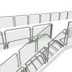 Glass and steel modern railing. Horizontal module ...