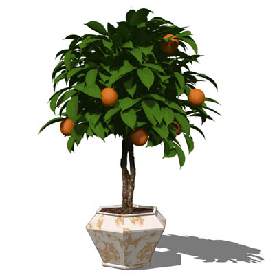Small, low-poly orange tree ball in a variety of p....
