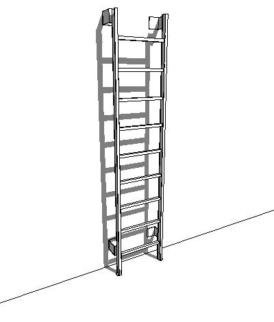 Wall based ships ladder for roof access. Adjustabl....