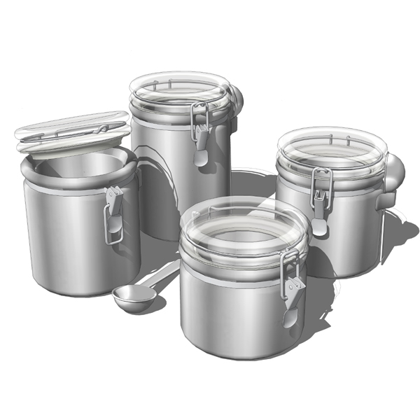 4-Piece kitchen canister set. 4 different medium t....