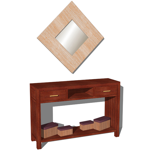 Simple line console table with accesories. The con....