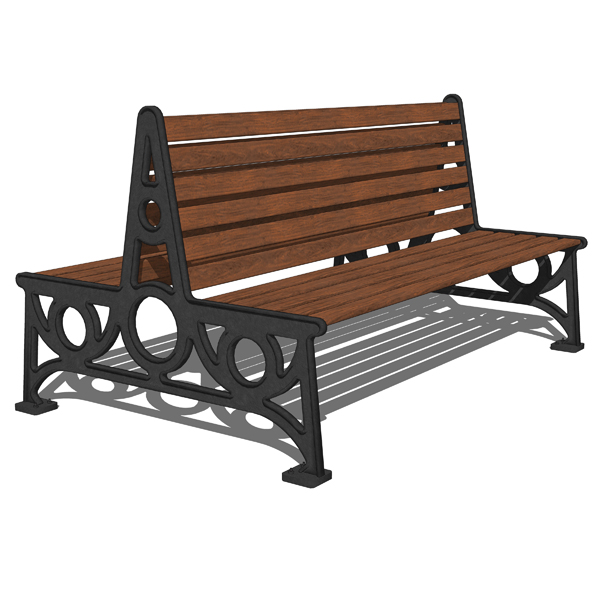 Cast iron and wood double bench No. 514 by CIS Str....