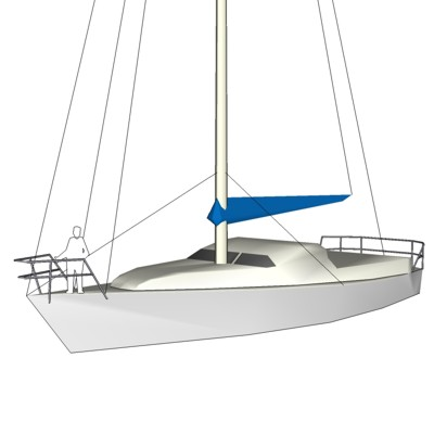 Lo-Detail Sailboat. Meant for Site-Plans with Smal....
