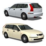 Saab 9-3 Estate Low Poly Version