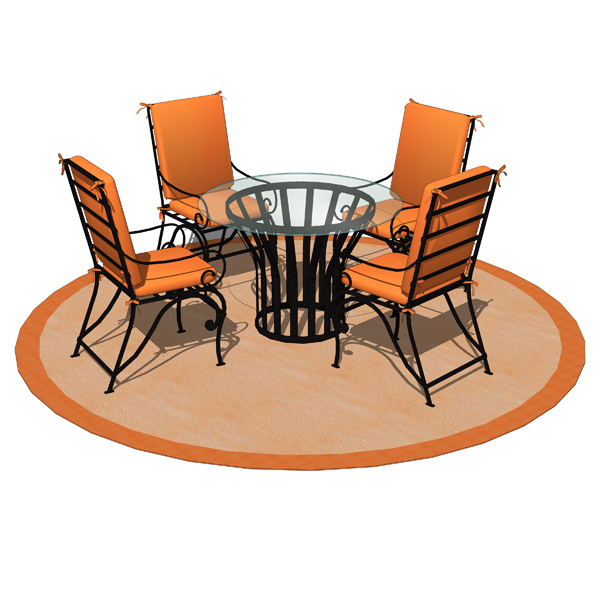 Wrought iron dining set 03 3D Model - FormFonts 3D Models ...