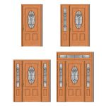 Norfolk house door in 4 different prehung styles b...