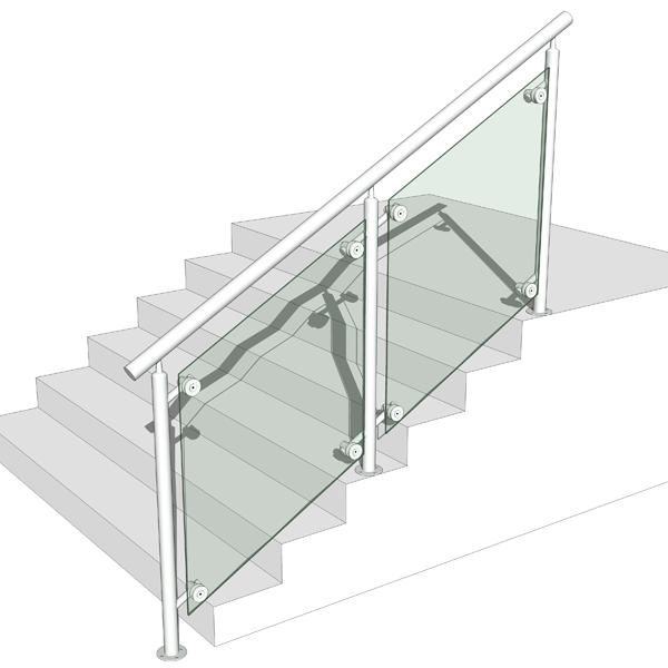 Glass And Metal Railing 3D Model