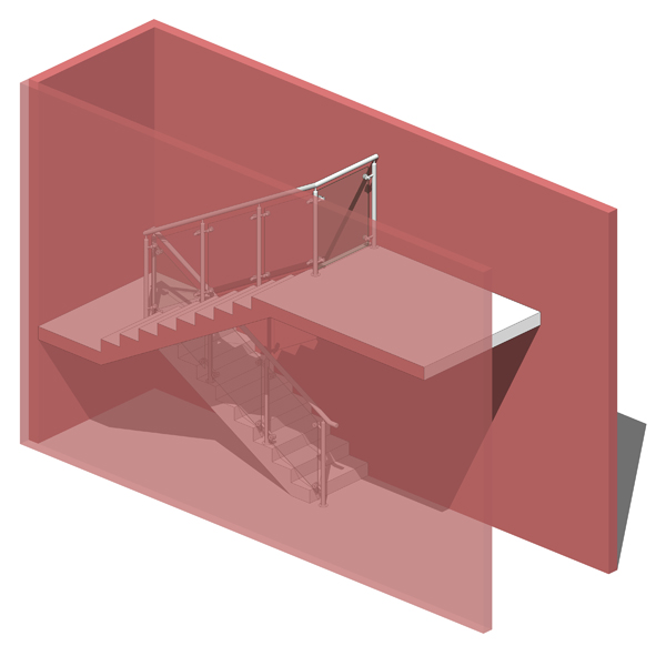 Staircase with metal and glass railing fully model....