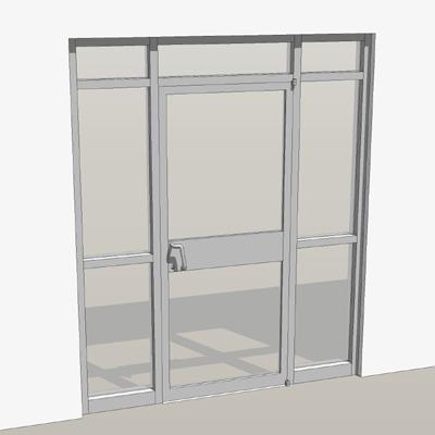 Storefront Doors single door storefront entry. 3d model - formfonts 3d models