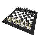 Deluxe black and white chess board with Staunton s...