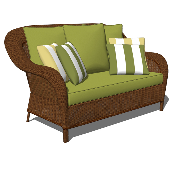 palmetto wicker loveseat 3d model