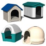 Four plastic dog houses.