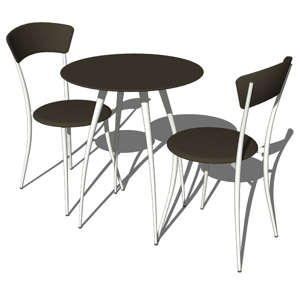 Adesso cafe table and chairs 3d model formfonts 3d for Kitchen set revit