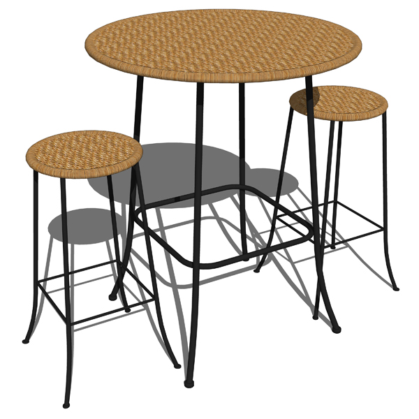 Cafe wicker tall table and bar stools..