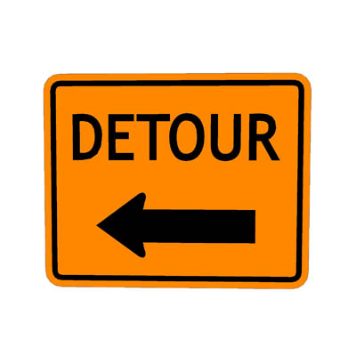 US Detour Left Construction Sign Code M4 9L