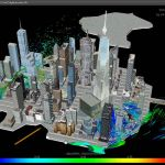 Airflow simulation over section of New York, using...